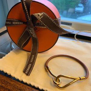 Hermes Leather & Gold Tone Single Tour Bracelet